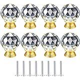 8-delige ladeknoppen kristal, rond kristal 30 mm kastknoppen, meubelknoppen, ladegrepen, deurknoppen, kristalglas, garderobed