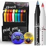 ARTISTRO Marqueurs métalliques et pastels pour papier noir, calligraphie, lettres, peinture rocheuse, citrouille d'Halloween,