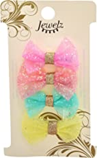 Jewelz Shiny Colourful Bow Tic Tac Hair Clips for Girls (Combo Pack of 4)
