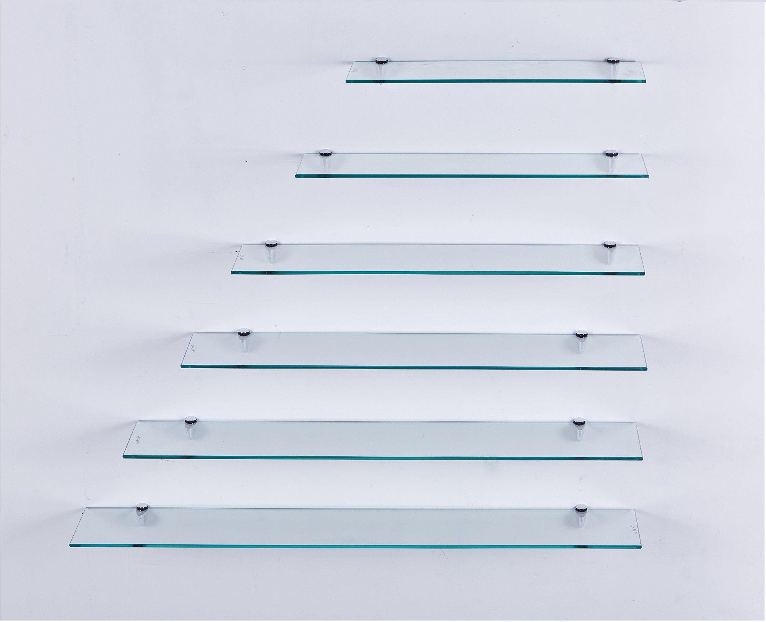 Euro Tische Glas Wandregal Klarglas - Glasregal mit 6mm ESG Sicherheitsglas  - perfekt geeignet als Badablage/Glasablage für Badezimmer - Verschiedene  ...