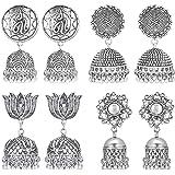 Sukkhi Elegant Pair of 4 Oxidised Earring Combo for Women (SKR73274), silver, free size