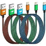 iPhone Ladekabel, Lightning Kabel 3Pack 2M Schnellladekabel iPhone MFi Zertifiziert iPhone Kabel Nylon Langes USB Ladekabel f