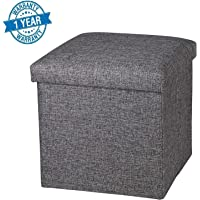 Callas Linen Storage Ottoman Cube, Space Saving Storage Box, Foot Rest Sear, CA 7001 (38X38X38 cm)