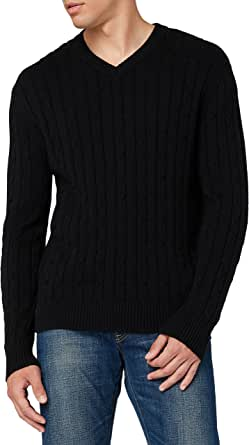 HIKARO Amazon Brand Men's V-Neck Sweater, 100% Cotton Pullover Sweater, Long Sleeve Cable Weaving Knit Sweater