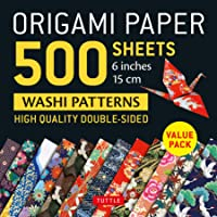Origami Paper 500 Sheets Japanese Washi Patterns 6 in 15 Cm: High-Quality, Double-Sided Origami Sheets With 12 Different…