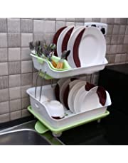 MW MALL India Plastic 2 Layer Kitchen Dish Drainer Rack Basket (Available in Assorted Colors)