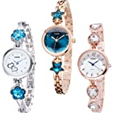 Casera Metal Strap Analogue Multicolour Dial Women's Watches Bangle Combo - Pack of 3