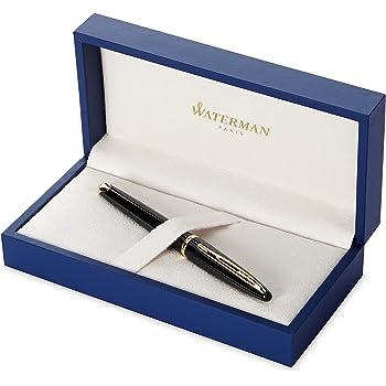 Waterman Carene Black Lacquer Gold Trim Medium Nib Fountain Pen, Gift Boxed
