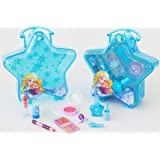 Disney Frozen blauer Schminkkoffer in Stern-Form mit Henkel, 1er Pack (enthält kindgerechte Schminke für Augen und Lippen, Nagellack, Schmuck)