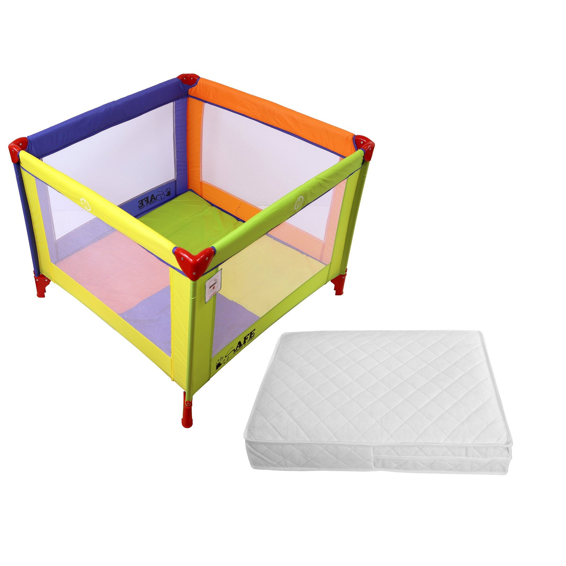 pretty nice 2a91c 1aaab iSafe Zapp And Nap Luxury Square Travel Cot/Playpen - Mixed Color  (Multicolored) 101cm x 101cm Complete With Mattress