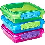 Sistema Boîte à lunch Boîte à sandwich avec contrastées Clips, Coloris aléatoire, 450ml, Lot de 3
