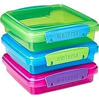 Sistema Boîte à lunch Boîte à sandwich avec contrastées Clips, Coloris aléatoire, 450 ml, Lot de 3