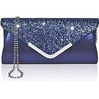 Larcenciel Damen Clutch Abendtasche Unterarmtasche Umhängetasche mit Strass-Steinen und Abnehmbarer Kette in den Farben…