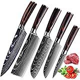 KEPEAK Couteau de Cuisine, Couteaux de Cuisine Tranchants en Acier Inoxydable Multi-Tailles avec Poignée Confortable, Couteau