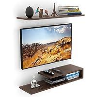 BLUEWUD Kunsua Engineered Wood TV Entertainment Unit/Wall Set Top Box Stand Shelf (Standard Wenge)