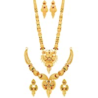 Mansiyaorange Gold-Plated Brass Long Haram And Choker Necklace Set for Women (Multicolored)