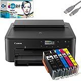 Canon PIXMA TS705 Tintenstrahldrucker schwarz + USB Kabel & 5 kompatible Druckerpatronen der Marke ink24 (Drucken per…