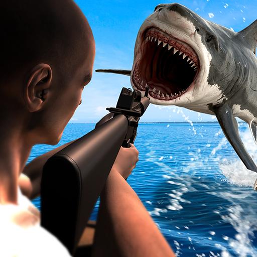 Caza submarino tiburón enojado