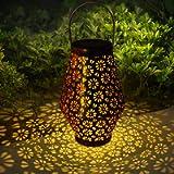 Hangrui Solar Lanterns Outdoor, Hanging Solar Lights Waterproof Backyard Decor Garden Ornaments, Retro Metal Solar…