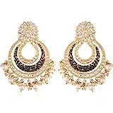 I Jewels 18K Gold Plated Alloy Kundan Stones & Pearl Earrings For Women & Girls