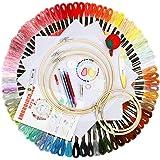 BangShou Broderi startpaket, nybörjare korsstygnsverktyg med trådar, sykit med 5 bambuöglor, Aida-tyg och nålgängare för barn