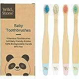 Wild & Stone Spazzolino da Denti in Bambù Biologico per Bambini   Quattro Colori   Setole Morbide in Fibra   Manico 100% Biod