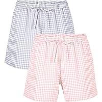 Femofit 2 Packs Womens Sleep Soft Shorts Pajama Bottoms Lounge Shorts Drawstring Pj Bottoms Pants for Ladies S-XL