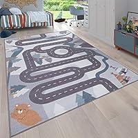 Paco Home Tapis pour Enfants, Tapis De Jeux pour Chambre d'enfant Motif Rues avec Animaux Crème, Dimension:80x150 cm