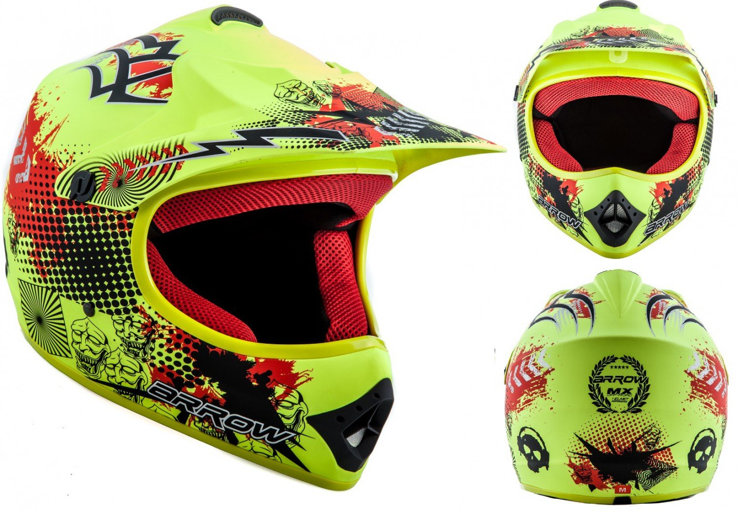 ARROW AKC-49 Limited Yellow Sport Cross-Bike Racing Bambino Off-Road Scooter Casco Moto-Cross Junior