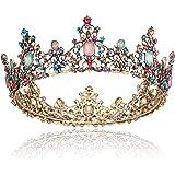 Coucoland Barock Königin Krone Braut Strass Tiara Hochzeit Krone Prinzessin Kristall Diadem Geburtstagskrone Damen Halloween