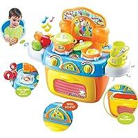 Popsugar Kitchen Set with Light, Music, Storage Case and Other Accessories for Kids, Orange