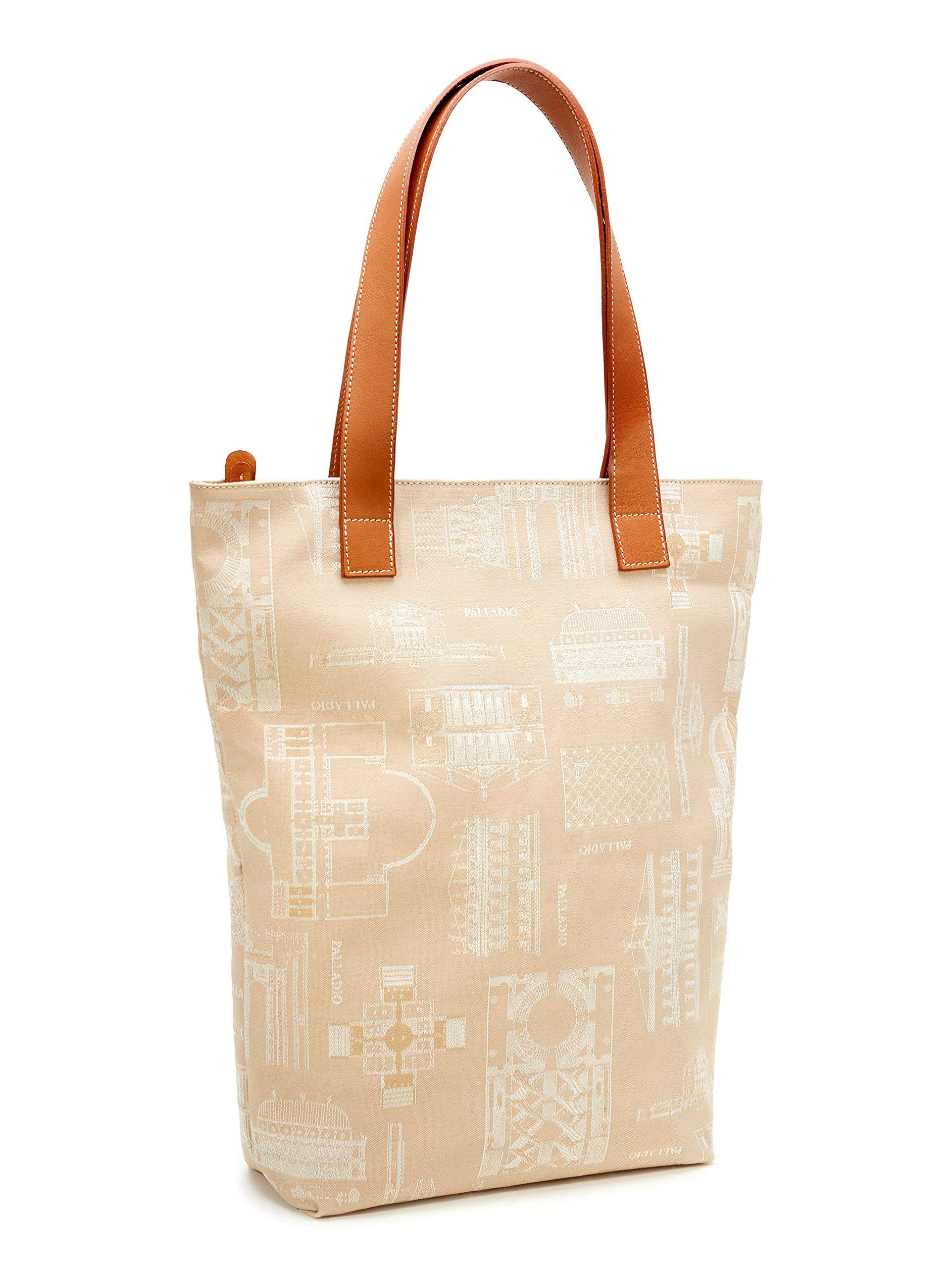 PalladioBags, Women's bag Villa Forni-Cerato, shoulderbag in fabric and leather, shopper bag with designs by Palladio. Entirely handmade in Italy - handmade-bags