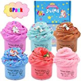 HUNDUN 6 Pack Butter Slime Kit, with Blue Color Slime, Coffee Slime, Watermelon Slime and Unicorn Slime, Super Soft & Non-Sti