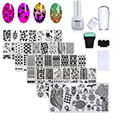 AIMEILI Nail Art Stamping Plates Set Manicure Pedicure Kit 5Pcs Nail Plates, 2 Stamper, 2 Grattoir, 1 Latex Peel Off Tape