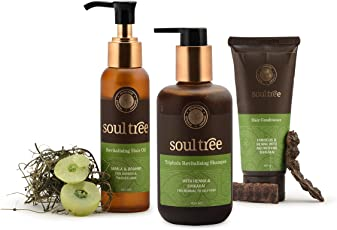 SoulTree Revitalising Hair Oil (120ml), Triphala Revitalising shampoo (250ml) & Hibiscus Hair shampoo (100gm), Combo Pack