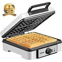 Waffles Piastra Belga 1200W Aicook  Piastra Per Waffle 4 Fette  Macchina Per Waffle con Controllo della Temperatura  Plastica Fenolica Antiscottatura  Indicatori Luminosi  Rivestimento Antiaderente