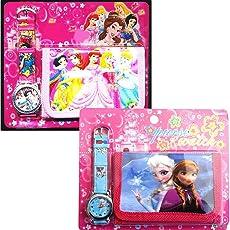 GRAPPLE DEALS New Cartoon Character First Kids Girls Wrist Watch with Purse Wallet Set for School Going Baby Girls (Pack of 2)