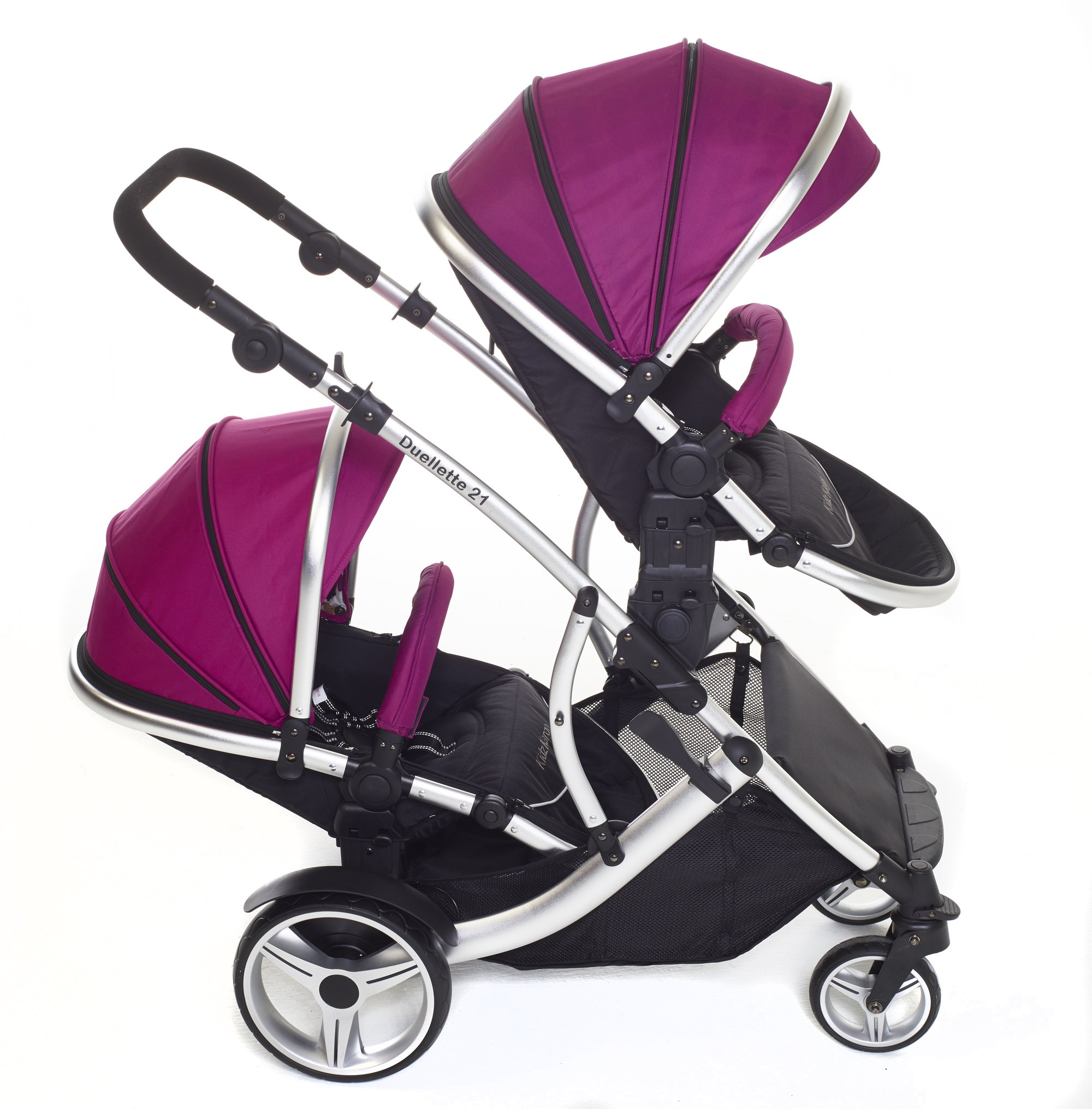 Kids Kargo Double Twin Tandem Pushchair. Duellette Combi Suitable from birth, Carrycot converts to toddler seat unit. Stroller by Kids Kargo (Dooglebug Raspberry)  Versatile. Suitable for Newborn Twins Compatible with car seats; Kidz Kargo, Britax Baby safe or Maxi Cosi adaptors. carrycots have mattress and soft lining, which zip off. Remove lining and lid, when baby grows out of carrycot mode, converts to seat unit 6