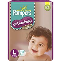 Pampers Active Baby Taped Diapers, Large size diapers, (LG) 18 count, Taped style custom fit