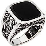 خاتم رجالي فاخر مصنوع يدويًا من الفضة الإسترلينية عيار 925 من حجر العقيق التركي