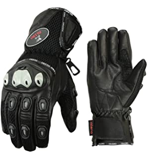 Islero Thermal Winter Leather Waterproof Weather Proof Premium Motorbike Motorcycle Gloves Racing Bike Riding Smartphone touch Compatible Tempest Fabric with Double Hipora and Thinsulate Linning