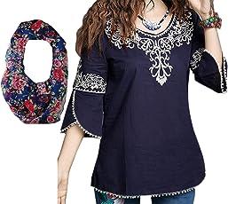 Triumphin Women's Embroidered Cotton Top