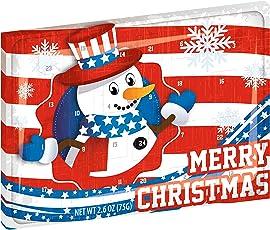 Amerikanischer Schokoladen Adventskalender - MERRY CHRISTMAS - Design - Leckere Adventskalender Snacks - Ausgefallener Adventskalender für USA Liebhaber mit 75 g Edel-Schokolade - 2018