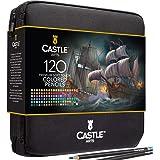 Castle Art Supplies - Set di 120 matite colorate con cerniera, perfetto per tutti gli artisti