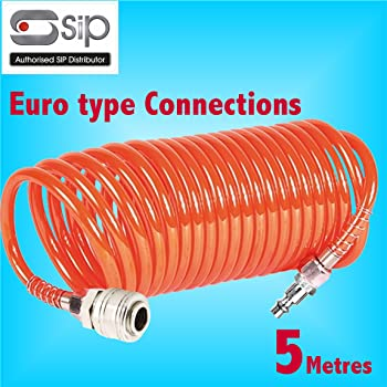 5 Metre Coiled Air Hose withPCL Type Quick Release Fittings Lightweight Nylon air line Compressor Tool Tyre Inflator 16 Ft