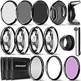 Neewer® Kit Complet d'accessoires de Filtre d'objectif 58 mm pour objectifs avec Filtre 58 mm : UV CPL FLD + kit Macro Gros P