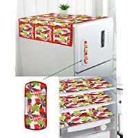 DECOTREE® Exclusive Combo of 1 Cotton Fridge Top Cover, 1 Cotton Fridge Handle Covers, 3 Fridge Mats (Red, 5 Pcs Set)