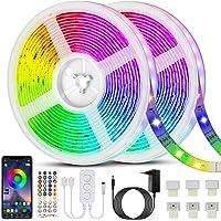 Ruban LED 20M(10m*2) Bande LED 5050 RGB 600 LEDs Bande Lumineuse Flexible Multicolore avec Télécommande à 40 Touches…