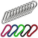 C.P.Sports 10 x karabijnhaken, 80 mm x 8 mm, roestvrij staal, massief, belastbaar tot 230 kg, robuuste karabijnhaak voor spor