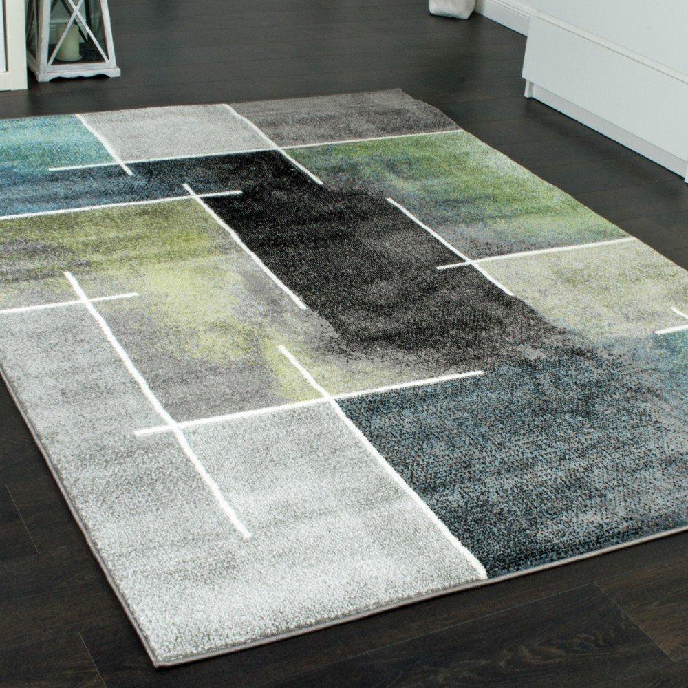 Designer Teppich Kariert Modern Trendig Meliert Eyecatcher In Grau Trkis Grn Grsse240x320 Cm Amazonde Kche Haushalt